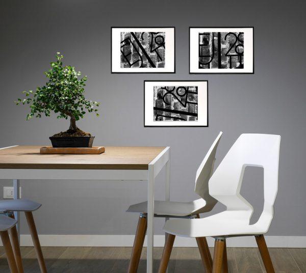 3 abstrakte billeder - Jern og sten - abstrakt sort/hvid kunstbilleder i rå look - sæt af tre billeder