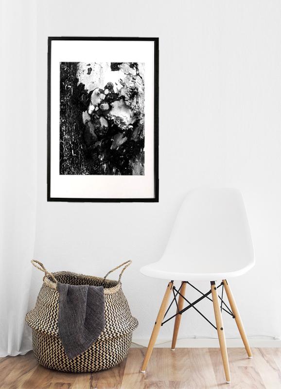 træ med knude i sort/hvid