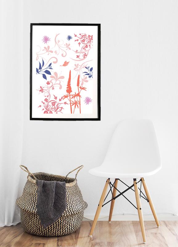 Lyserød mønster illustration - billeder4you - illustration opsat i ramme