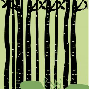 Deer illustration - Hjort i skov - billeder4you.dk