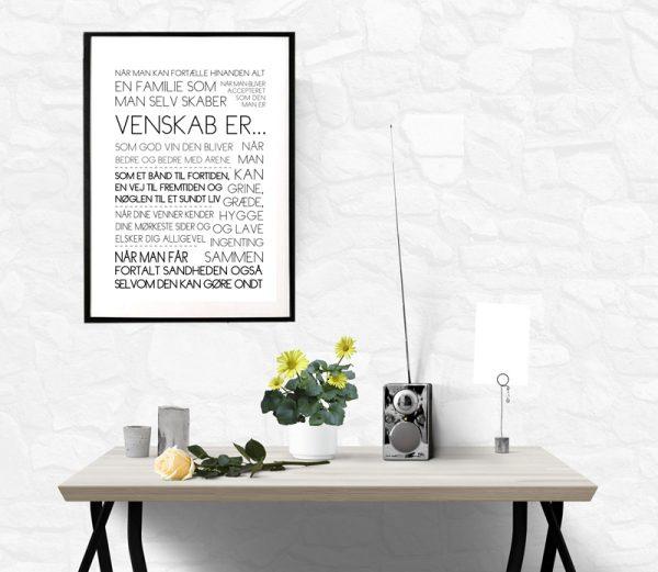 Venskab er tekstplakat - opsat i ramme fra Billeder4you