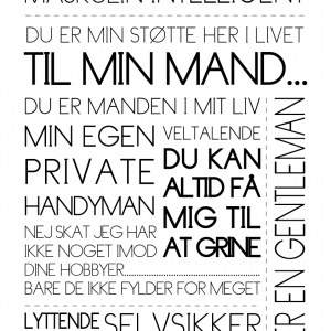 Til min mand - Tekstplakat - Billeder4you