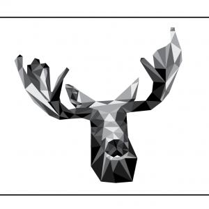 Elg - abstrakt illustrations tegning i trekanter fra Wolf-illustrations - Køb billedet hos Billeder4you