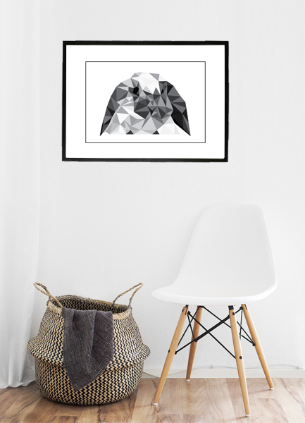 Trekant kanin - søde motiver i trekanter lavet af Wolf-illustrations - Køb billederne hos Billeder4you - opsat på væg