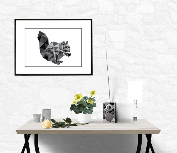 Egern i trekanter - sødt motiv af et egern - køb det hos Billeder4you - opsat billed