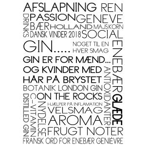 Gin - tekstplakat om disse smagfulde dråber fra Billeder4you