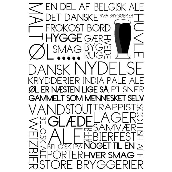 Øl - tekstplakat om de gyldne dråber fra Billeder4you