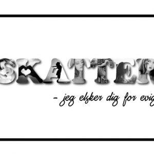 Skatter - jeg elsker dig for evigt i sort/hvid - Billeder4you
