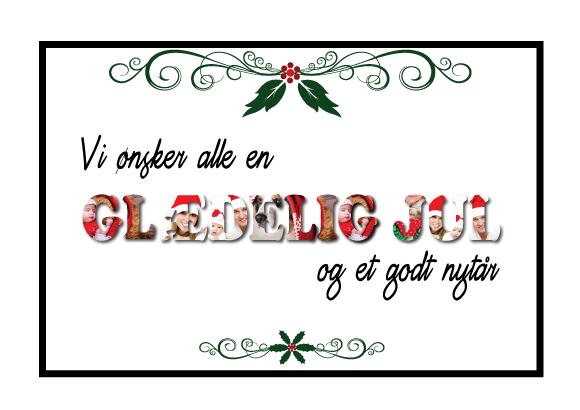 Glædelig jul julepostkort med julegrafik og dine egne billeder fra Billeder4you