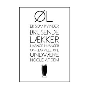 kvinder er som øl tekstplakat fra Billeder4you