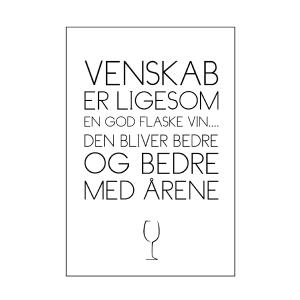 Vin er som venskab tekstplakat fra billeder4you